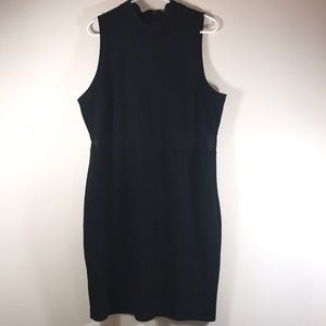 Black sleeveless mesh cutout dress 3X